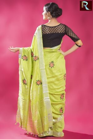 Exclusive Design Linen Work Saree1