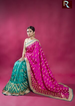 Green and Magenta color Designer Saree with Zari work