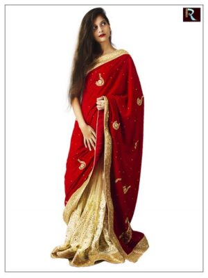 Half velvet and half net Saree for Wedding