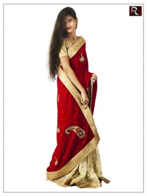 Half velvet and half net Saree for Wedding1