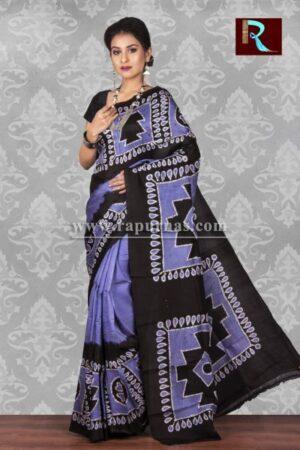 Hand Batik on Pure Silk Saree with unique design