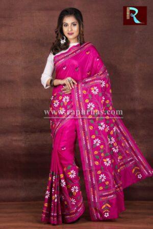 Kantha Stitch Saree on Art Silk
