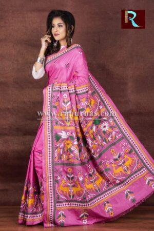 Kantha Stitch Saree on Art Silk with floral design1