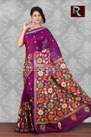 Kantha Stitch Saree on Art Silk with flowers all over1