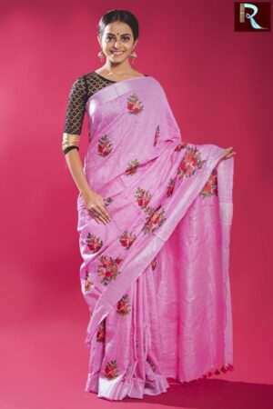 Latest Design Linen Work Saree