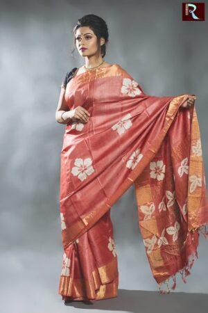 Printed Tussar Silk Saree with Zari Pallu and border of latest design1