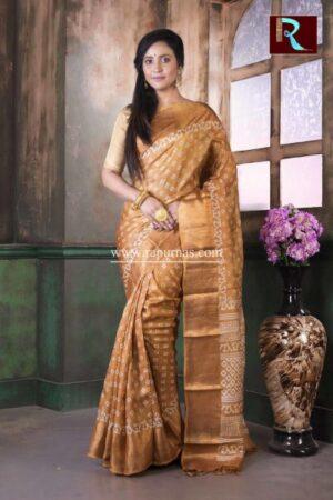 Printed Tussar Silk Saree with Zari paar
