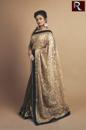 Pure Chanderi and Half Brasso Designer Saree