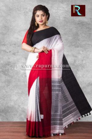 Pure Cotton Handloom Saree of white body and dual tone Pallu