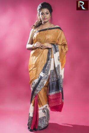 Snuff color plain Tussar Silk Saree with Black and white print Pallu1