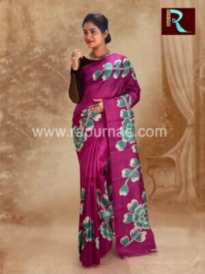Trendy Pure Silk Saree with flowers all over