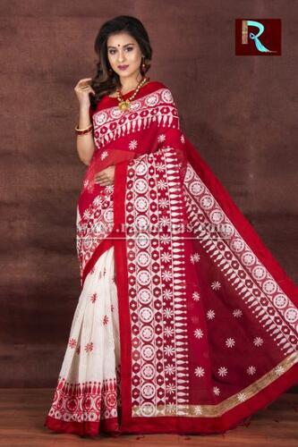 Kachhi Kathiawari work on Noil Cotton Saree with Deep Red Pallu
