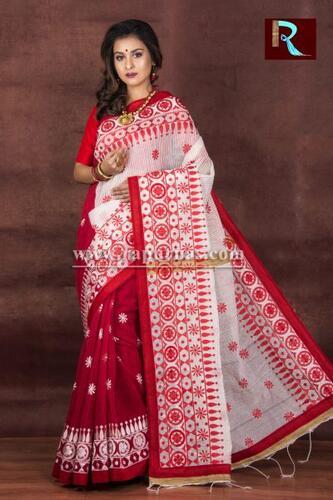 Kachhi Kathiawari work on Noil Cotton Saree with Red Pallu