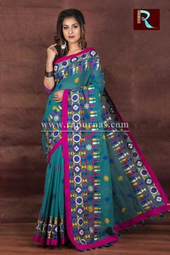 Kachhi Kathiawari work on Noil Cotton Saree with amazing color combination