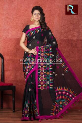 Kachhi Kathiawari work on Handloom Cotton Saree