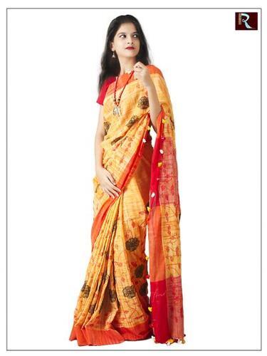 Pure Linen Cotton Saree with Stitchwork