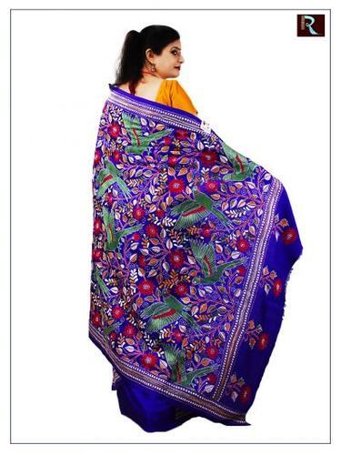 Pure Bangalore Silk Saree with Kantha Stitch embroidery