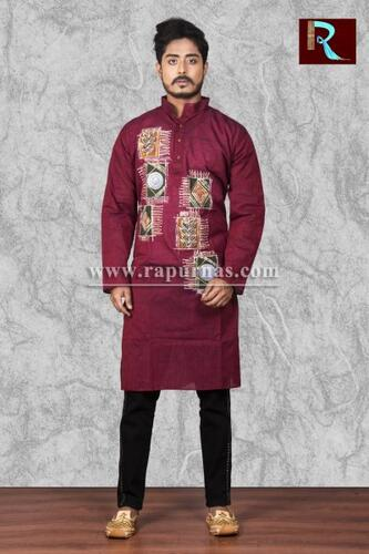 Deep Brown Cotton Kurta with Fabric painting