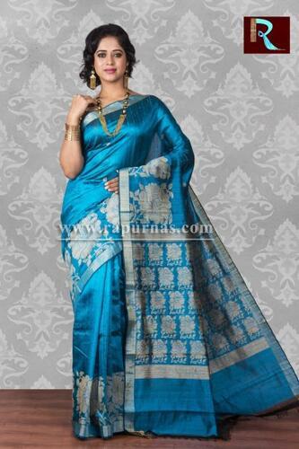 Pure Dopian SIlk Saree of sky blue color
