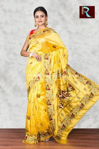 Hand Ari work on Art Silk Saree of yellow color