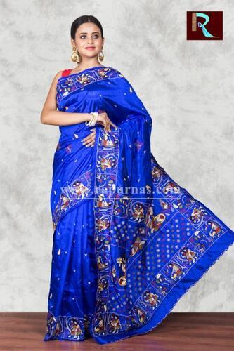 Trendy Hand Ari work on Art Silk Saree