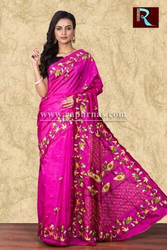 Hand Ari work on Art Silk Saree of rani pink color