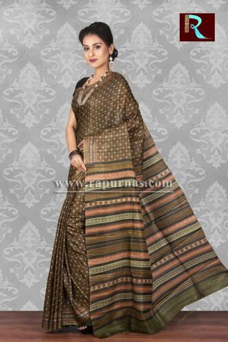 Printed Ghicha Silk Saree with an ethnic touch