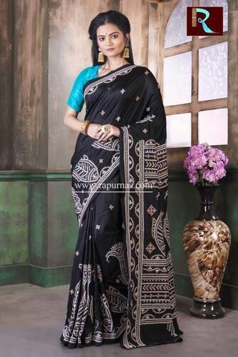 Gujrati Stitch work on Pure Bangalore Silk Saree of black color