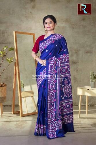 Gujrati Stitch work on Art Silk Saree of Deep Blue color