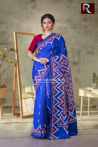 Gujrati Stitch work on Pure Bangalore Silk Saree of Blue color
