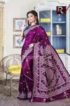 Gujrati Stitch work on Pure Bangalore Silk Saree of purple color1