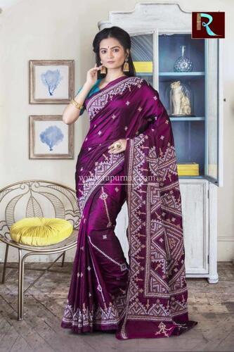 Gujrati Stitch work on Pure Bangalore Silk Saree of purple color