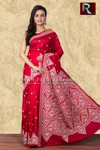 Gujrati Stitch work on Bangalore Silk Saree of red color
