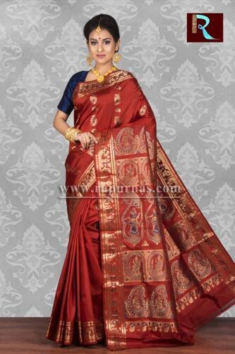 Rust Color Baluchari Silk Saree
