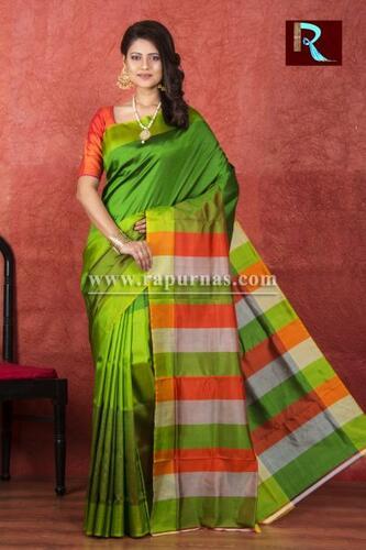 3D Katan Silk Saree with green body