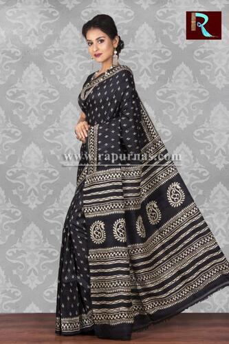 Black color printed Pure Silk Saree