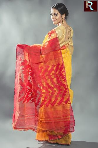 Bangladeshi Dhakai Jamdani Saree with Yellow body and Red Pallu