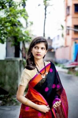Black Linen Jamdani Saree