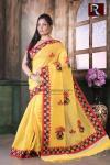 Applique work on BD Cotton Saree of lemon yellow color1