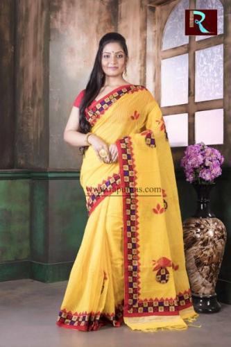 Applique work on BD Cotton Saree of lemon yellow color