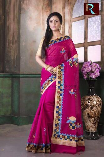 Applique work on BD Cotton Saree of awesome design