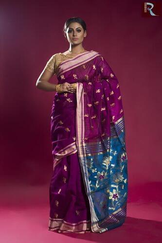 Pure Blended Cotton Handloom Saree